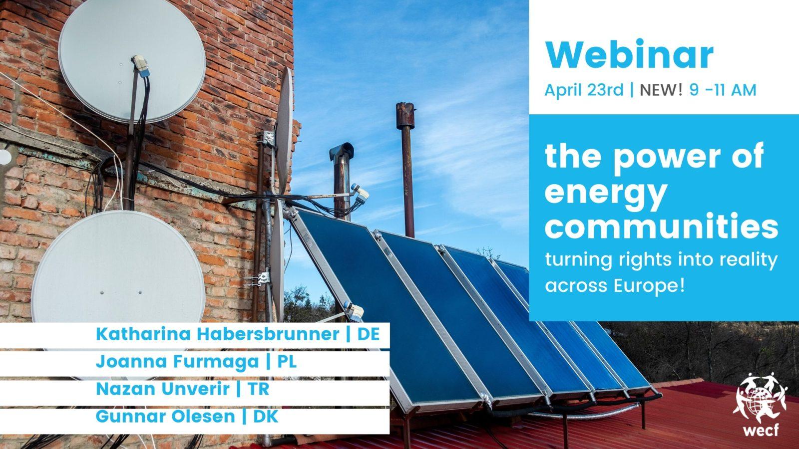 """23.04.2020 r. Seminarium internetowe: """"Siła Wspólnot Energetycznych"""""""