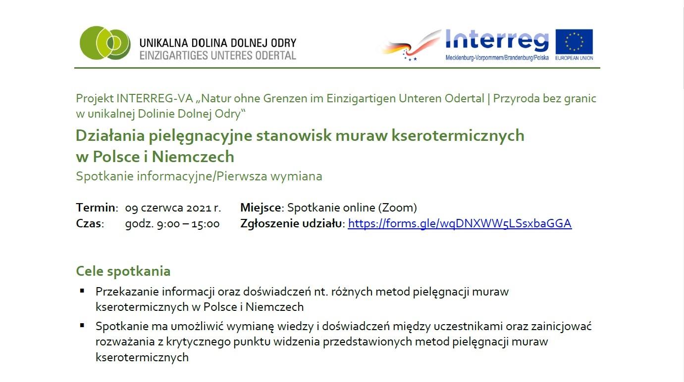 """Prezentacja projektu INT162 na webinarium poświęconym """"Działaniom pielęgnacyjnym muraw kserotermicznych w Niemczech i Polsce"""""""