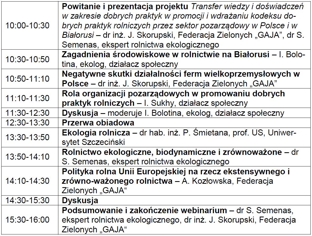 Rola organizacji pozarządowych wwypracowywaniu, promocji iwdrażaniu najlepszych praktyk wochronie środowiska wrolnictwie wPolsce iwBiałorusi - zaproszenie nawebinarium 28.09.2021 r.